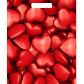 """Полиэтиленовый пакет """"Сердечки"""" - 40 х 31 см."""